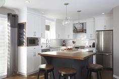 Love the white kitchen cabinets and dark gray island with butcher block. Kitchen Decor, Beach Cottage Kitchens, Home Kitchens, Kitchen Design, Kitchen Island Design, Updated Kitchen, Kitchen Remodel, Kitchen Dining Room, Kitchen Layout