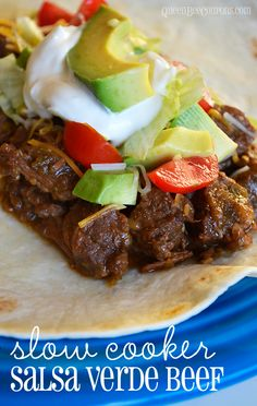 Slow cooker salsa verde beef. Yummy for tacos or burritos, you choose!