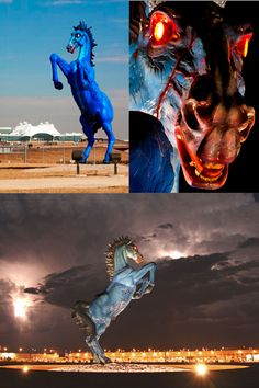 This three story demon horse greets travelers at Denver International Airport. Luis Jiménez, the sculptor, was killed when a large section of the Blue Mustang fell on him and severed an artery in his leg.