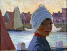 Volendams meisje in de haven geschilderd door A. Hanicotte