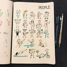 via @morganhlane on Instagram @therevisionguide Had fun with this weeks challenge, my effort at people, professions etc! #revisionguide_52wvv #52wvv_week7 #doodles #sketching #cartoons #sketchnotes #visualthinking #leuchtturm1917 #copicmarkers #kurecolor #graphgear1000