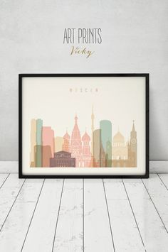 Moscow print Poster Wall art Russia cityscape by ArtPrintsVicky