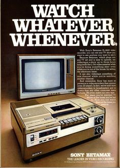 This Sony Betamax ad from 1978 makes me realize how far video production and distribution has come. The Betamax was the first consumer-grade recording format. I wonder what the picture on a Betamax looks like when compared to the Blu-Ray players we have now.