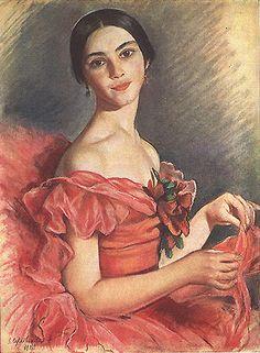 1900s, Zinaida Yevgenyevna Serebriakova (Russian artist, 1884-1967) Anna Pavlovan 1923