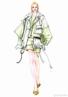Fashion Illustration Sketches, Fashion Sketchbook, Fashion Design Sketches, Art Sketches, Illustration Art, Illustrator Tutorials, Fashion Art, Drawing Fashion, Fashion Accessories
