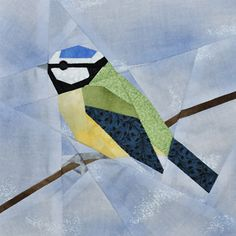 paper-pieced bird block