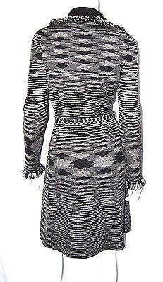 M MISSONI Black & White Wool Striped Knit Trench Coat 42