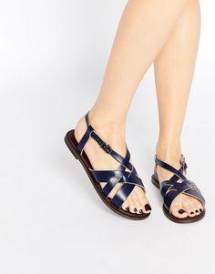 Immagine 1 di Park Lane - Sandali piatti di pelle con cinturino alla caviglia