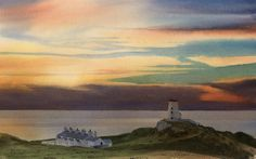 Link to Sunset over Ynys Llanddwyn, an original watercolour painting by Rob Piercy