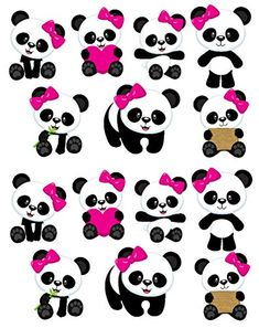 Cute Panda Girls Repositionable Removable Wall Decal Stic...