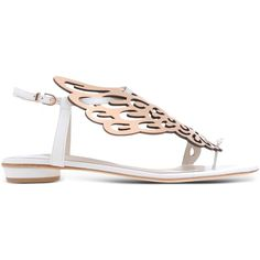 Sophia Webster Sandals (8,005 MXN) ❤ liked on Polyvore featuring shoes, sandals, white, two tone shoes, leather sandals, white shoes, leather sole shoes and sophia webster shoes