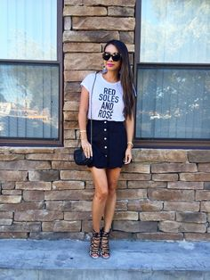 Red soles and Rosé tee and button down skirt