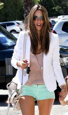mint shorts + white or black blazer <3