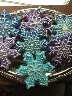Snowflake cookies airbrushed
