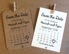 10 Personalised Magnetic Save the Date cards Rustic Shabby Chic Vintage style