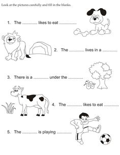Look at the pictures carefully and fill in the blanks English Activities For Kids, English Grammar For Kids, English Stories For Kids, English Worksheets For Kindergarten, Learning English For Kids, English Phonics, English Grammar Worksheets, English Lessons For Kids, Kindergarten Math Worksheets