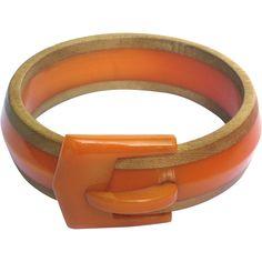 Rare Laminated Orange Bakelite and Wood Buckle Bracelet - available from The Vintage Jewelry Boutique on Ruby Lane. #rubylane