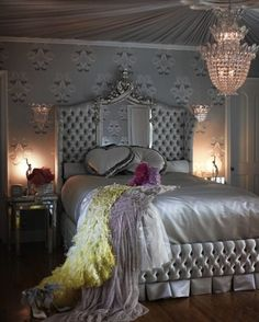 For the Mae West in all of us...50 Shades Of Style ~ Grey metallic boudoir style bedroom. Boom!