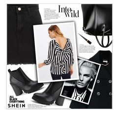 """All Black Everything w\ SheIn"" by shambala-379 ❤ liked on Polyvore featuring Anja, Chloé, Givenchy and Christian Louboutin"