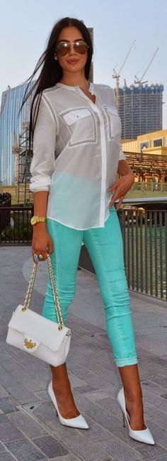 White And Green Outfit Idea