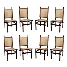 1stdibs | Set of 8 Brazilian rosewood and cane dining chairs