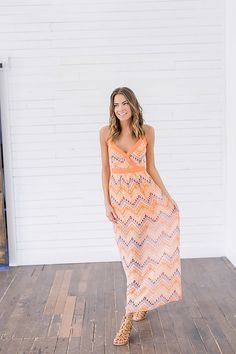 Sweet Tangerine Aztec Print Dress Front