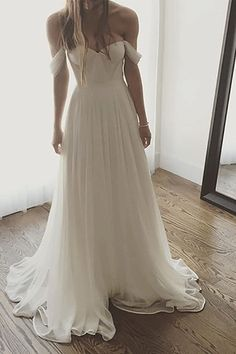 Ivory Wedding Dresses, Chiffon Wedding Dress, Long Prom Dress, Off ...