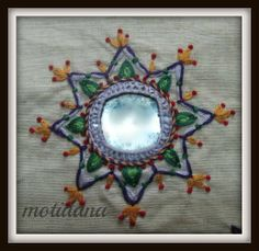 The Beauty of Indian Embroidery - Shisha Embroidery or Mirrorwork ! Indian Embroidery, Hand Embroidery Stitches, Hand Embroidery Designs, Embroidery Applique, Beaded Embroidery, Embroidery Patterns, Embroidery Online, Embroidery Boutique, Embroidery Tattoo