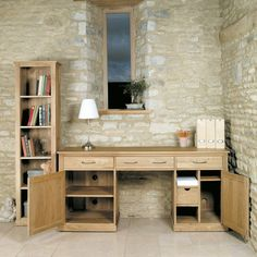 Mobel Solid Oak Large Hidden Office Twin Pedestal Desk -  - Office Desk - Baumhaus - Space & Shape - 2
