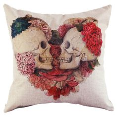 New Cotton Linen Skull Throw Pillow Case Cover Bed Room Back Seat Waist Cushion Home Bones Pillow Covers Pillowcases Pillow Sham #Affiliate