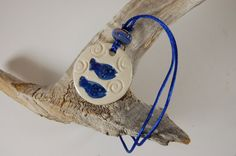Blue Fish Pottery Pendant Necklace J05 by CenterHillClayWorks