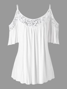 Plus Size Cold Shoulder Lace Insert Blouse - White Xl Mobile Plus Size Blouses, Plus Size Tops, Plus Size Dresses, Plus Size Outfits, Lace Dresses, Blouse Styles, Blouse Designs, Skirt Fashion, Fashion Outfits