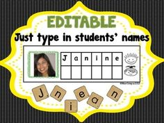 NAME RECOGNITION LITERACY CENTER & LETTER TILES - EDITABLE - Name Activities for Back to School, Name Recognition Literacy Center, Kindergarten, Pre School