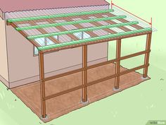 How to Add a Lean To Onto a Shed. When your shed or other storage building no longer provides enough room, you can add additional storage if you add a lean-to onto a shed. If the existing shed is structurally sound and has an exterior wall. Lean To Carport, Lean To Roof, Shed Storage, Built In Storage, Lean To Shed Plans, Shed Kits, Wood Shed, Diy Shed, Building A Shed