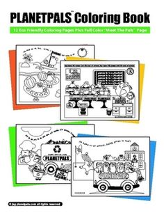 Planetpals COLORING BOOK: Exclusive Earth friendly coloring pages with green, healthy themes for kids.