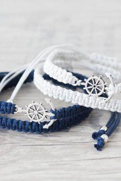 ea2005a352a1 Anchor bracelet for men and women Matching couple bracelets Macrame  bracelet Friendship bracelet Couples set His and her bracelet - set of 4