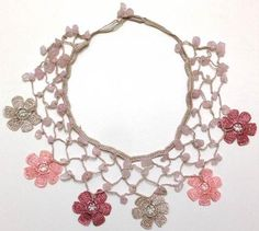Blush Pink and Grey Choker Necklace with Crocheted Flower and semi precious Pink Quartz Stones Leaf Necklace, Crochet Necklace, Pink Grey, Blush Pink, Pink Quartz, Quartz Stone, Crochet Flowers, Jewelery, Crochet Patterns