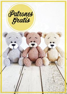Animal Knitting Patterns, Crochet Toys Patterns, Amigurumi Patterns, Stuffed Toys Patterns, Crochet Bear, Crochet Books, Amigurumi Toys, Amigurumi Free, Knitted Animals