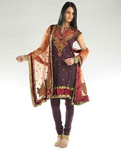 Wine Suit with Multicolor Embroidered Yoke and Floral Motifs  by Preeti S. Kapoor