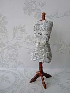 How to make a mannequin for the dollhouse plastered with French newspapers