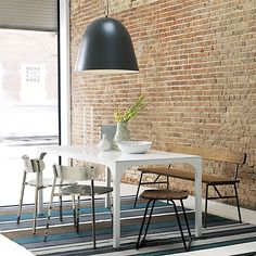 Cool bench for the Dining Room, perhaps?  principle bench in dining chairs, barstools   CB2