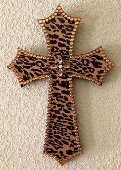 Leopard Print Wooden Cross by SouthernCharmMarket on Etsy