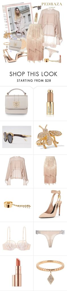 """Neutral toned looks with PEDRAZA"" by carola-corana ❤ liked on Polyvore featuring Estée Lauder, Kenneth Jay Lane, Robert Rodriguez, Tom Ford, Lana, La Perla, Diane Kordas, PedrazaLondon and Pedraza"
