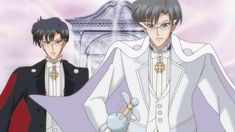 Sailor Moon Crystal Act 22 - Tuxedo Mask and King Endymion Sailor Moon Stars, Sailor Moon Manga, Sailor Moon Crystal, Sailor Saturno, Neo Queen Serenity, Moon Drawing, Tuxedo Mask, Sailor Moon Character, Man On The Moon
