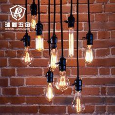 Vintage Industrial DIY Black Ceiling Lamp Pendant Lighting Suit All Edison Bulb Edison Lighting, Home Lighting, Pendant Lighting, Lighting Ideas, Pendant Lamps, Wire Pendant, Industrial Lighting, Ceiling Pendant, Crystal Pendant