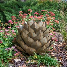 Barrel Cactus Garden Torch - Desert Steel Co. Succulent Landscaping, Landscaping With Rocks, Front Yard Landscaping, Arizona Landscaping, Landscaping Ideas, Backyard Ideas, Magic Garden, Garden Art, Garden Design