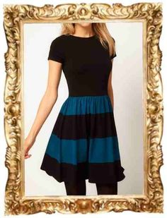 ASOS skater dress with stripped skirt $39