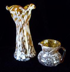 Set Blenko Rainbow Huntington Amber Splatter Speckled Glass Vase and Creamer