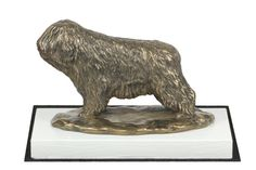 Polish Lowland Sheepdog, dog on white wooden base statue, limited edition, ArtDog Polish Lowland Sheepdog, Lion Sculpture, It Cast, Bronze, Base, Cold, Statue, Artist, Crafts