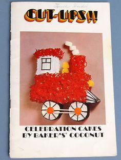 Vtg Cut Ups Celebration Cakes by Baker's Coconut Shape Booklet Train 1970 1971
